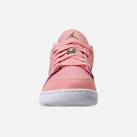 Front view of Girls' Grade School Air Jordan 1 Low (3.5y - 9.5y) Casual Shoes in Bleached Coral/Trooper/White/Black
