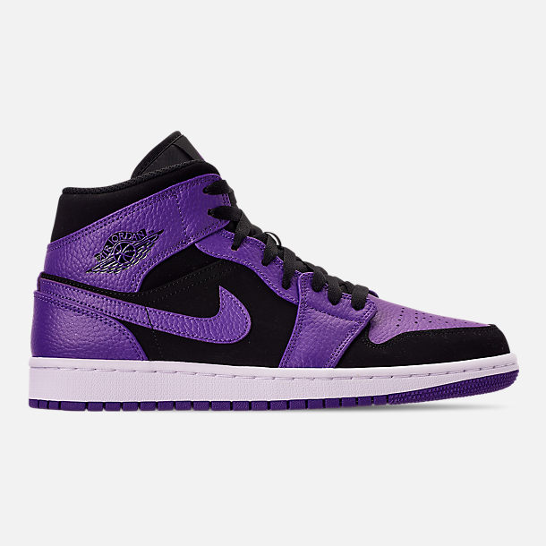 Right view of Men's Air Jordan 1 Mid Retro Basketball Shoes in Black/Dark Concord/White