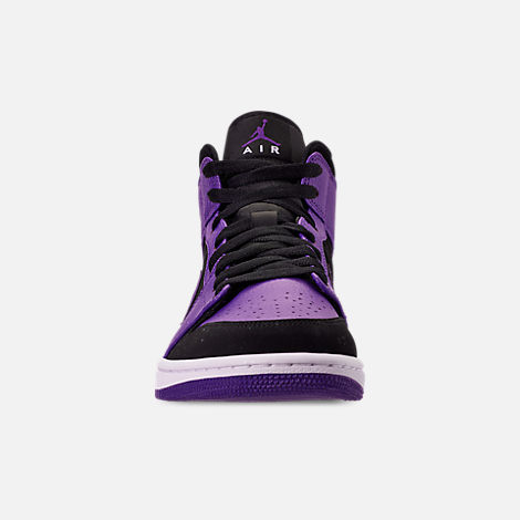 Front view of Men's Air Jordan 1 Mid Retro Basketball Shoes in Black/Dark Concord/White
