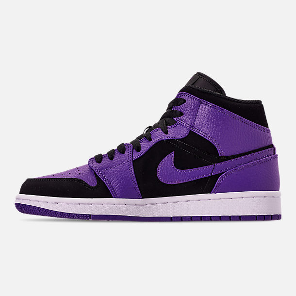 Left view of Men's Air Jordan 1 Mid Retro Basketball Shoes in Black/Dark Concord/White