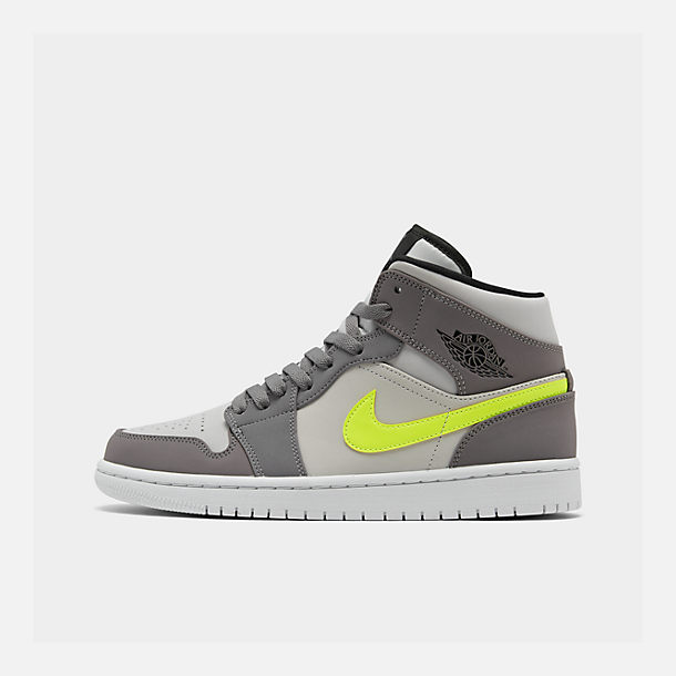 Right view of Men's Air Jordan 1 Mid Retro Basketball Shoes in Gunsmoke/Volt/Neutral Grey/White