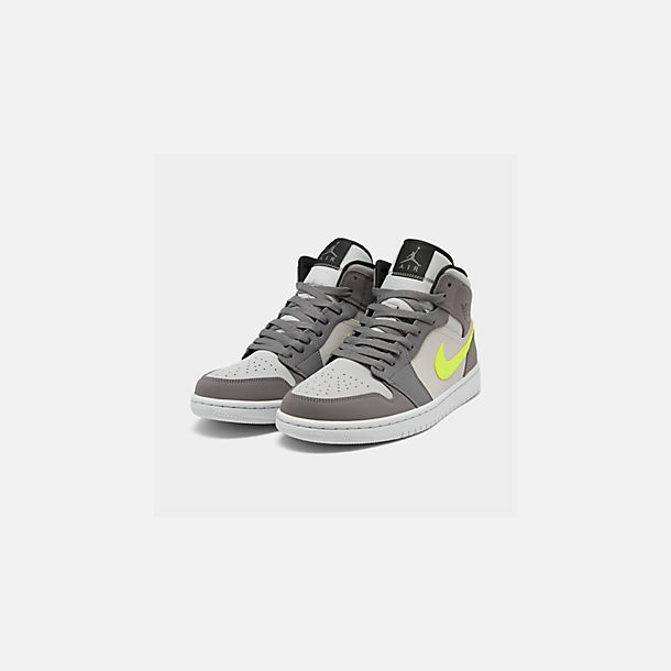 Three Quarter view of Men's Air Jordan 1 Mid Retro Basketball Shoes in Gunsmoke/Volt/Neutral Grey/White