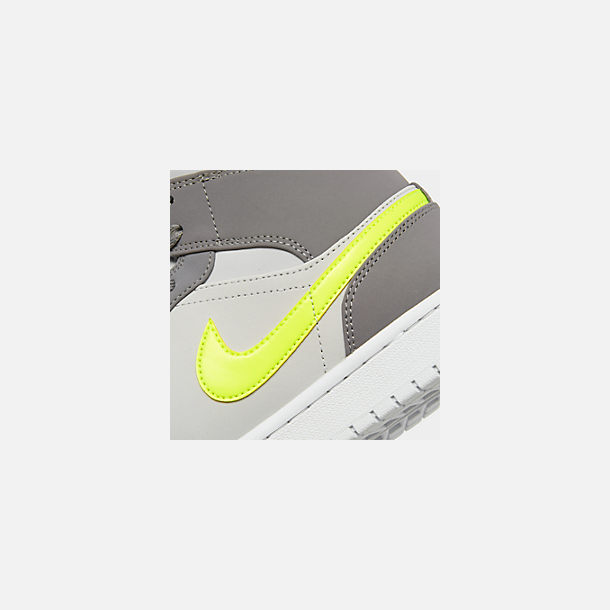 Front view of Men's Air Jordan 1 Mid Retro Basketball Shoes in Gunsmoke/Volt/Neutral Grey/White