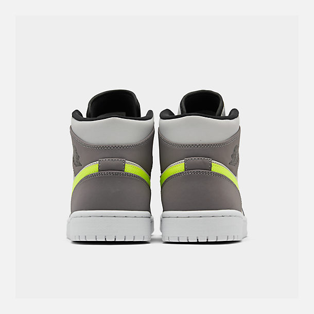 Left view of Men's Air Jordan 1 Mid Retro Basketball Shoes in Gunsmoke/Volt/Neutral Grey/White