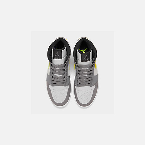 Back view of Men's Air Jordan 1 Mid Retro Basketball Shoes in Gunsmoke/Volt/Neutral Grey/White