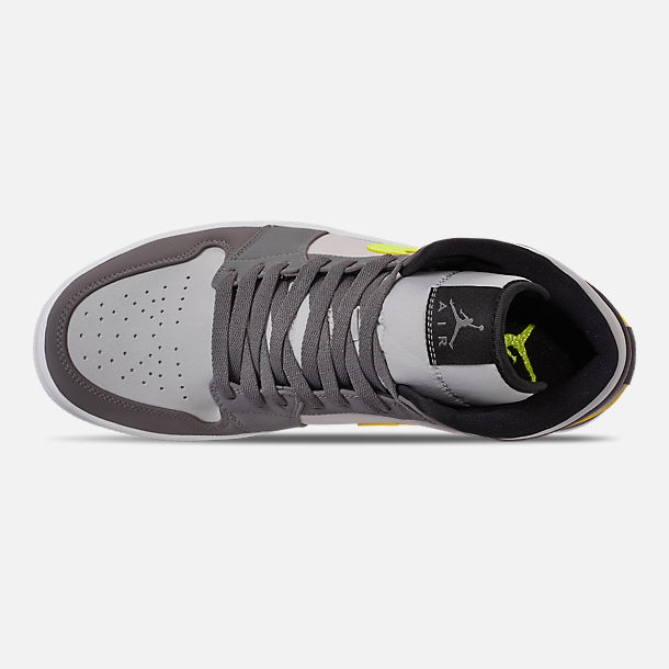 Top view of Men's Air Jordan 1 Mid Retro Basketball Shoes in Gunsmoke/Volt/Neutral Grey/White