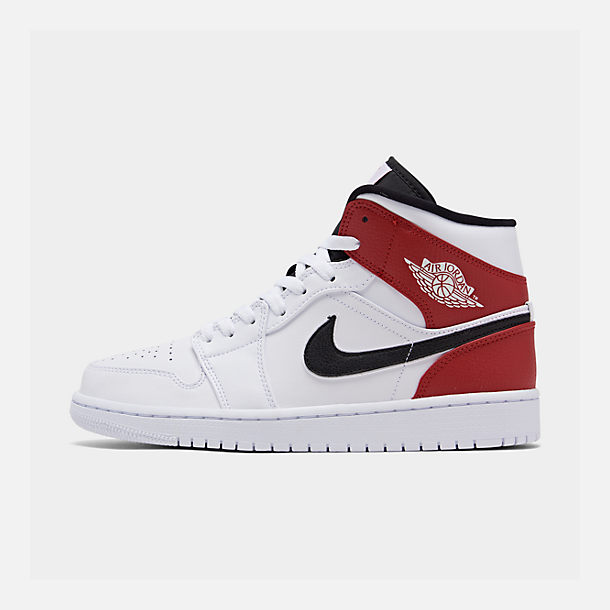 Right view of Men's Air Jordan 1 Mid Retro Basketball Shoes in White/Black/Gym Red