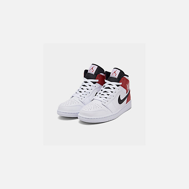 Three Quarter view of Men's Air Jordan 1 Mid Retro Basketball Shoes in White/Black/Gym Red