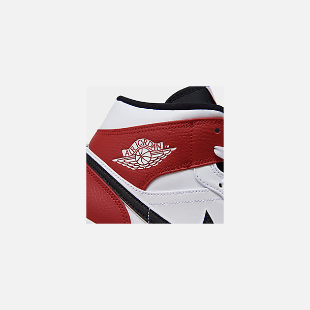Front view of Men's Air Jordan 1 Mid Retro Basketball Shoes in White/Black/Gym Red