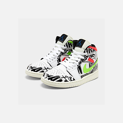 Three Quarter view of Men's Air Jordan 1 Mid Retro Basketball Shoes in White/Racer Blue/Black/Electric Green