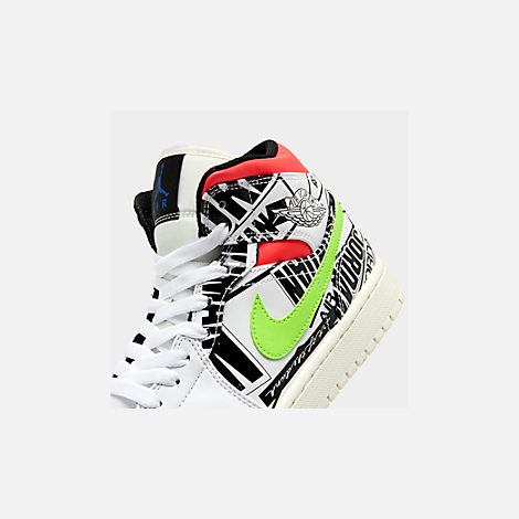 Front view of Men's Air Jordan 1 Mid Retro Basketball Shoes in White/Racer Blue/Black/Electric Green