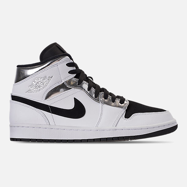 Right view of Men's Air Jordan 1 Mid Retro Basketball Shoes in White/Metallic Silver/Black