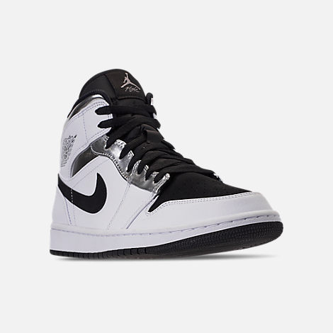 Three Quarter view of Men's Air Jordan 1 Mid Retro Basketball Shoes in White/Metallic Silver/Black