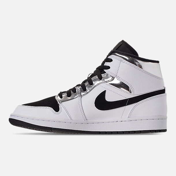 Left view of Men's Air Jordan 1 Mid Retro Basketball Shoes in White/Metallic Silver/Black
