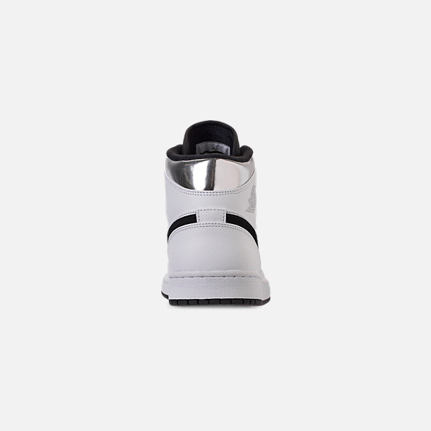 Back view of Men's Air Jordan 1 Mid Retro Basketball Shoes in White/Metallic Silver/Black