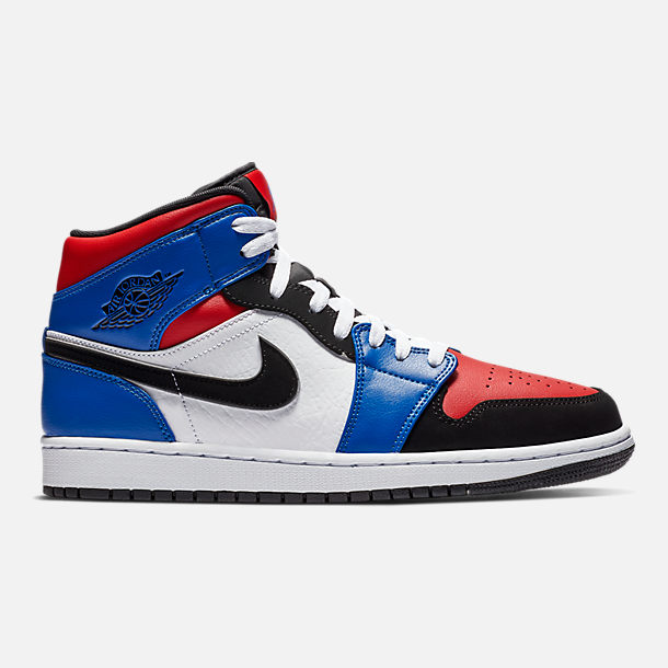 Right view of Men's Air Jordan 1 Mid Retro Basketball Shoes in White/Black/Hyper Royal/University Red