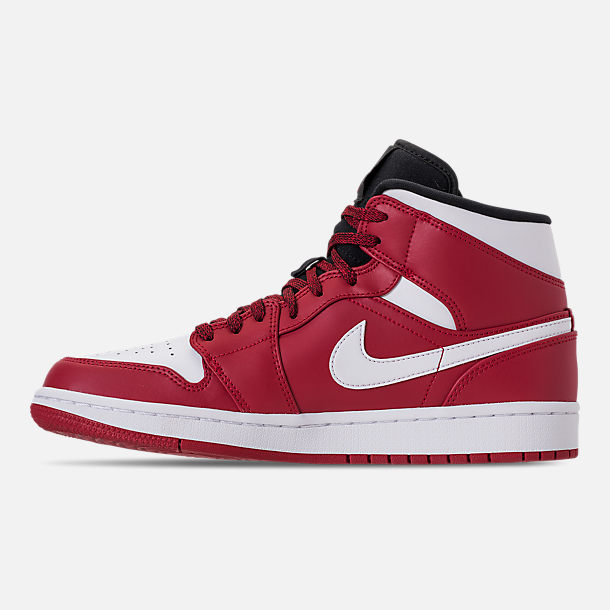 Left view of Men's Air Jordan 1 Mid Retro Basketball Shoes in Gym Red/White/Black