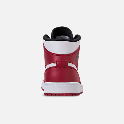 Back view of Men's Air Jordan 1 Mid Retro Basketball Shoes in Gym Red/White/Black