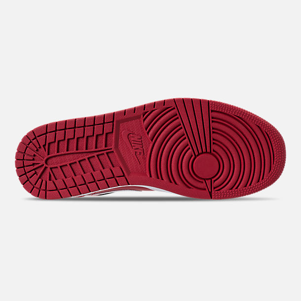 Bottom view of Men's Air Jordan 1 Mid Retro Basketball Shoes in Gym Red/White/Black