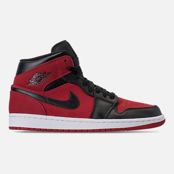 Right view of Men's Air Jordan 1 Mid Retro Basketball Shoes in Gym Red/Black