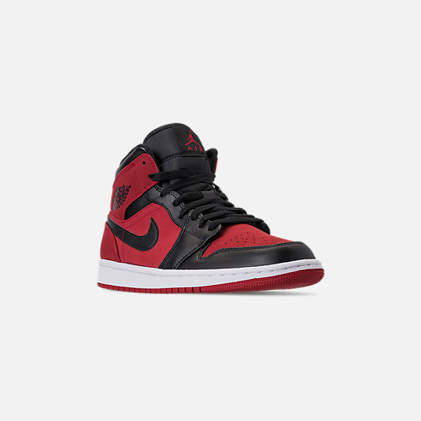 Three Quarter view of Men's Air Jordan 1 Mid Retro Basketball Shoes in Gym Red/Black/White