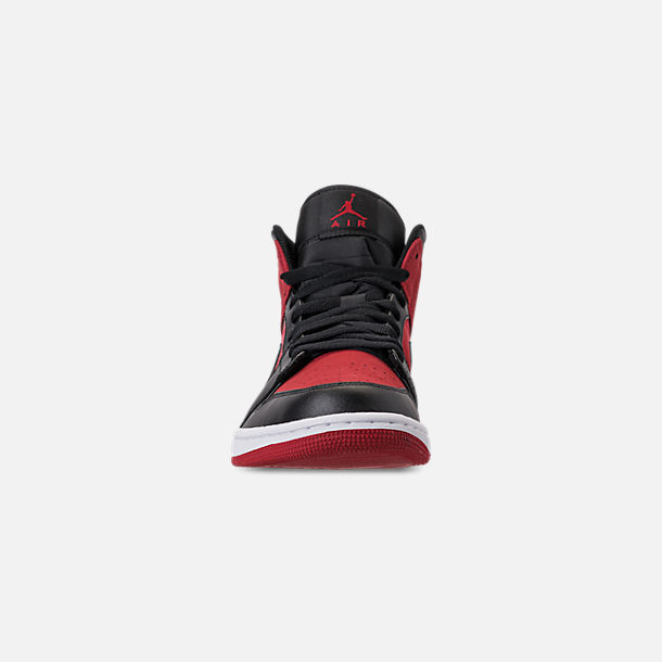 Front view of Men's Air Jordan 1 Mid Retro Basketball Shoes in Gym Red/Black/White