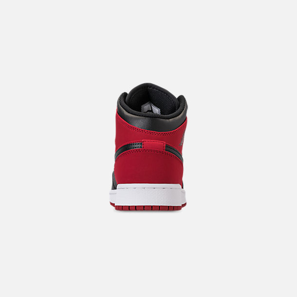 Back view of Men's Air Jordan 1 Mid Retro Basketball Shoes in Gym Red/Black/White