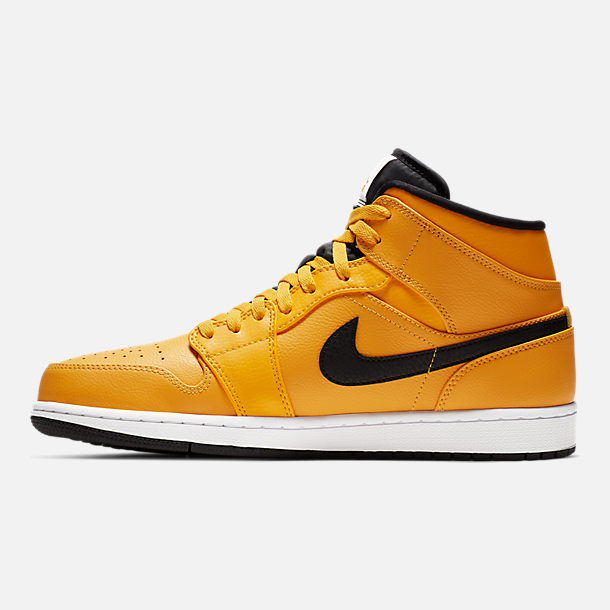 Right view of Men's Air Jordan 1 Mid Retro Basketball Shoes in University Gold/Black/White/Gym Red