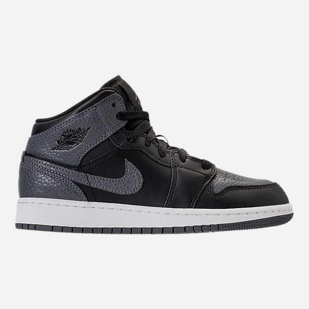 Right view of Kids' Grade School Air Jordan 1 Mid Basketball Shoes in Black/Dark Grey/Summit White
