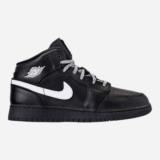 Right view of Big Kids' Air Jordan 1 Mid Basketball Shoes in Black/White/Black