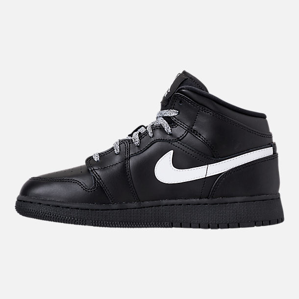Left view of Big Kids' Air Jordan 1 Mid Basketball Shoes in Black/White/Black