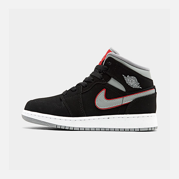 37db166a286 Right view of Big Kids' Air Jordan 1 Mid Basketball Shoes in Black/Particle
