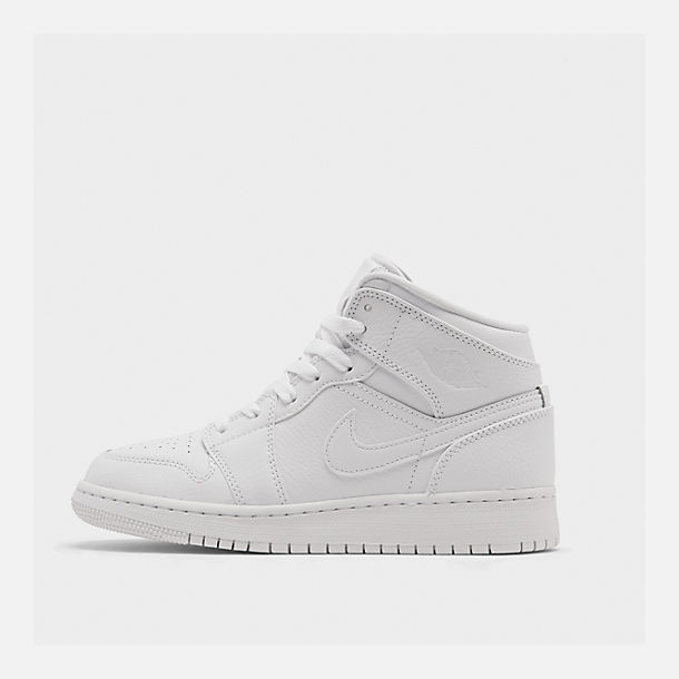 Right view of Big Kids' Air Jordan 1 Mid Basketball Shoes in White/White/White