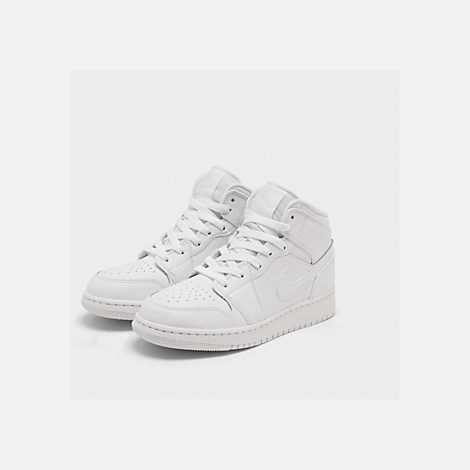 Three Quarter view of Big Kids' Air Jordan 1 Mid Basketball Shoes in White/White/White