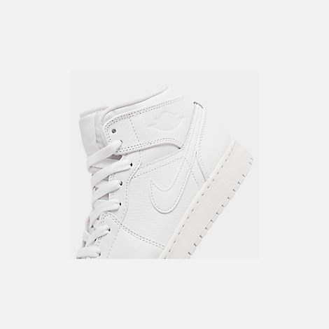 Front view of Big Kids' Air Jordan 1 Mid Basketball Shoes in White/White/White