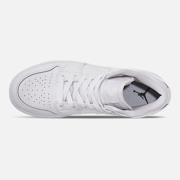 Top view of Big Kids' Air Jordan 1 Mid Basketball Shoes in White/White/White