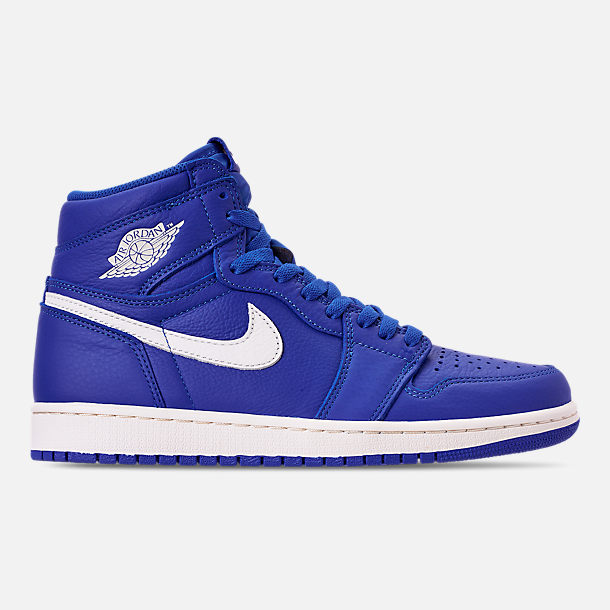 Right view of Men's Air Jordan 1 Retro High OG Basketball Shoes in Hyper Royal/Sail