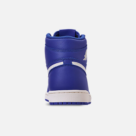 Back view of Men's Air Jordan 1 Retro High OG Basketball Shoes in Hyper Royal/Sail