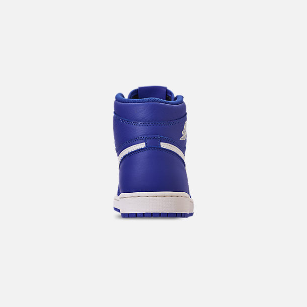 Back view of Men's Air Jordan Retro 1 High OG Basketball Shoes in Hyper Royal/Sail