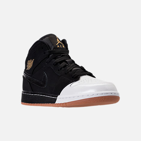Three Quarter view of Girls' Grade School Air Jordan 1 Mid Basketball Shoes in Black/Metallic Gold/White/Gum Med
