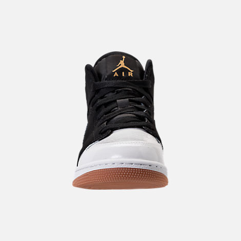 Front view of Girls' Grade School Air Jordan 1 Mid Basketball Shoes in Black/Metallic Gold/White/Gum Med