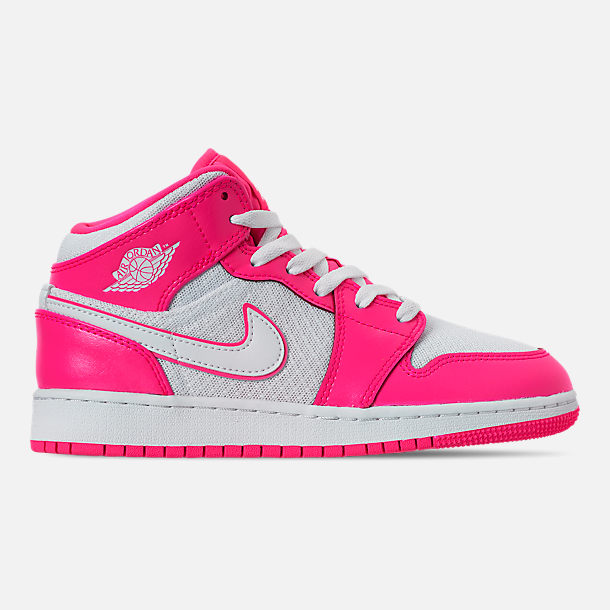 b173ab4e318 Right view of Girls' Big Kids' Air Jordan 1 Mid Casual Shoes in Hyper