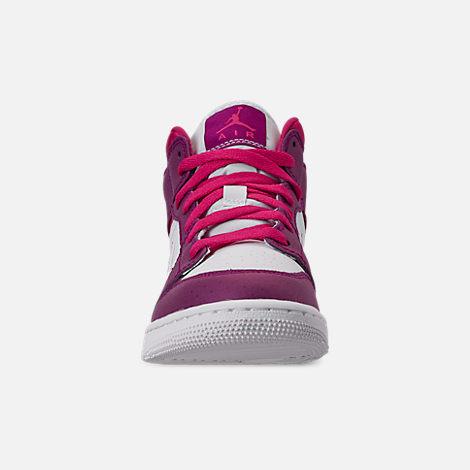 b5704500366 Front view of Girls  Big Kids  Air Jordan 1 Mid Casual Shoes in True