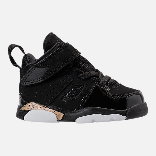 Right view of Boys' Toddler Air Jordan Flight Club '91 Basketball Shoes in Black/Metallic Gold/White