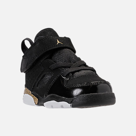 Three Quarter view of Boys' Toddler Air Jordan Flight Club '91 Basketball Shoes in Black/Metallic Gold/White