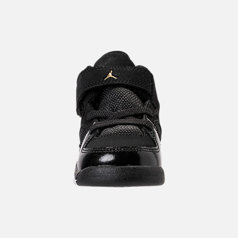 Front view of Boys' Toddler Air Jordan Flight Club '91 Basketball Shoes in Black/Metallic Gold/White