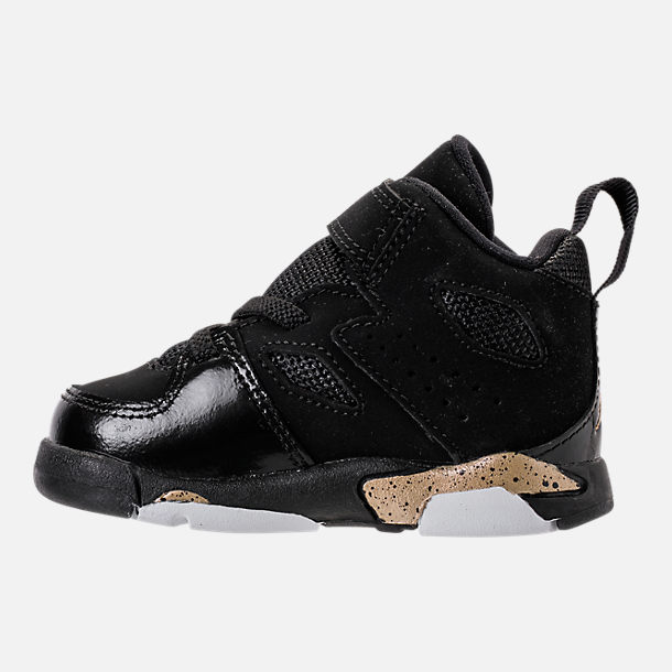 Left view of Boys' Toddler Air Jordan Flight Club '91 Basketball Shoes in Black/Metallic Gold/White