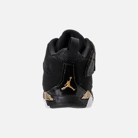 Back view of Boys' Toddler Air Jordan Flight Club '91 Basketball Shoes in Black/Metallic Gold/White