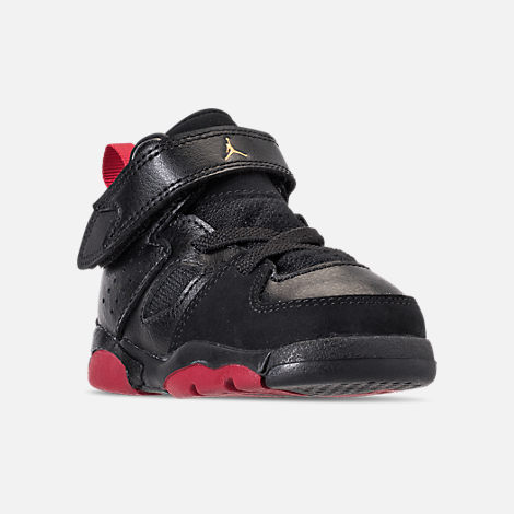 Three Quarter view of Boys' Toddler Air Jordan Flight Club '91 Basketball Shoes in Black/Dandelion/Varsity Red