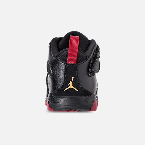 Back view of Boys' Toddler Air Jordan Flight Club '91 Basketball Shoes in Black/Dandelion/Varsity Red